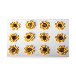 Embroidered Sunflower Stickers Sheet of 25