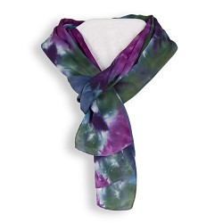 Crepe Satin Shibori Scarf - Purple and Green
