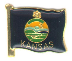Kansas flag lapel pin Flag 0.75 inch