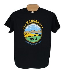 State Seal t-shirt Adult 2 XL Black A- 2X Large