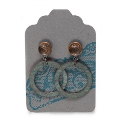 Lace Studs w/ Dangling Hoop Circle