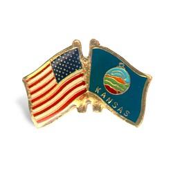 Kansas/American flag pin