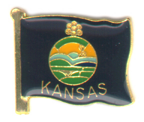 Kansas flag lapel pin,138C
