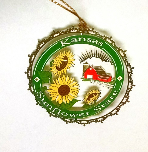 KS Sunflower State Color Ornament w/ red barn,JSC0667-B