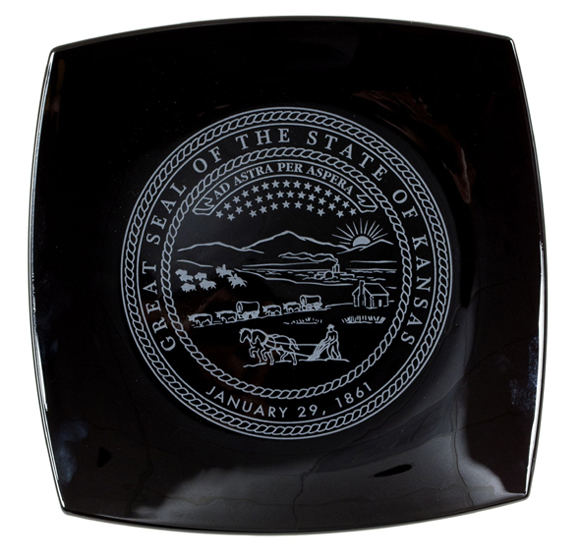 State Seal Square Black Plate