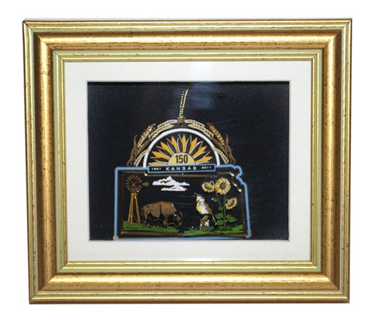 Kansas 150th ornament framed