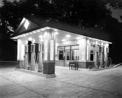 Skelly Gas Station at Night