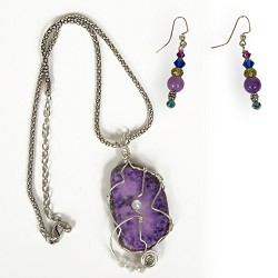 Silver-wrapped purple agate necklace and earring set