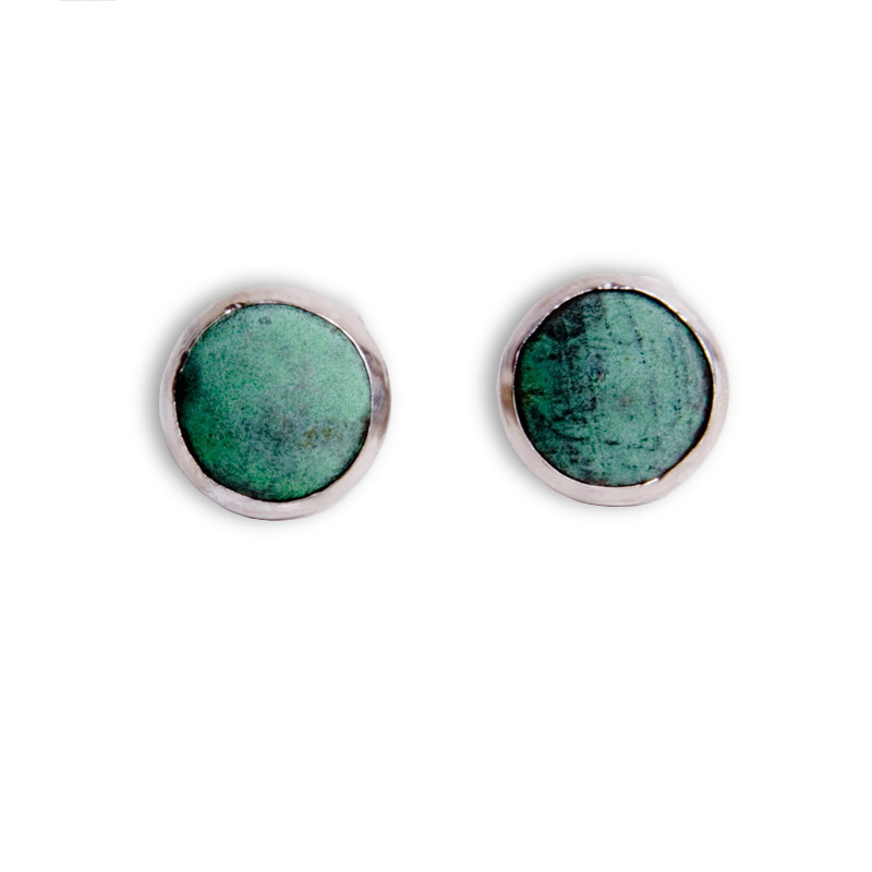 #1 Cufflinks - Copper Bezel Set in Sterling Silver (smaller)