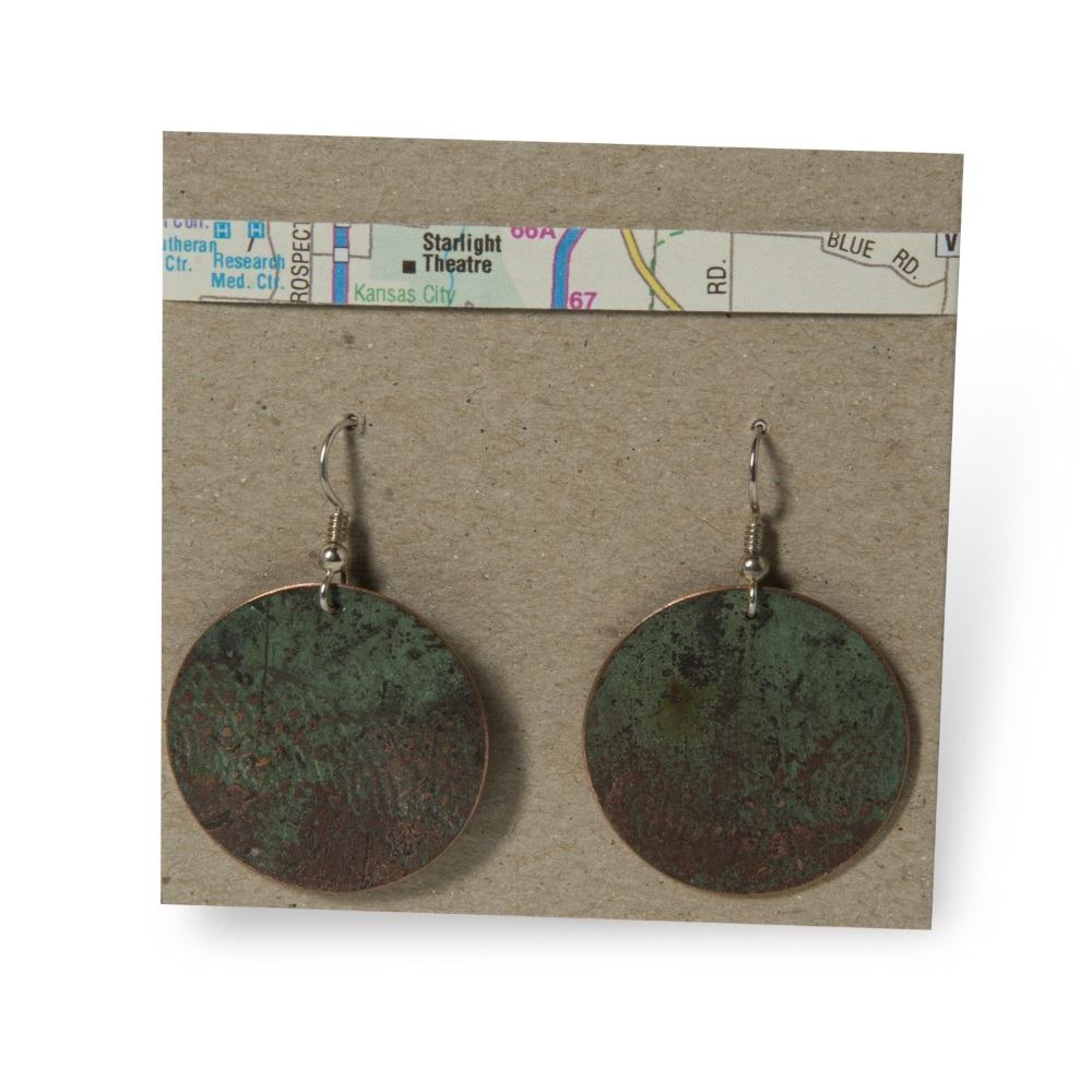 Lace Print Disc Earrings