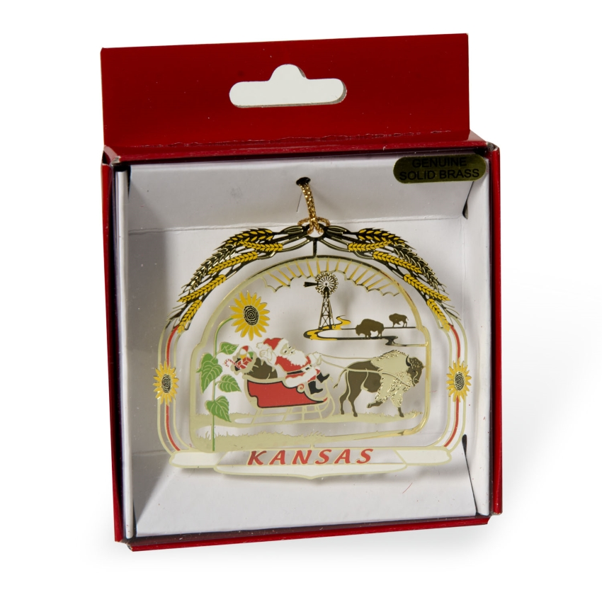 Santa w/ Bison Ornament,JSC0012-B