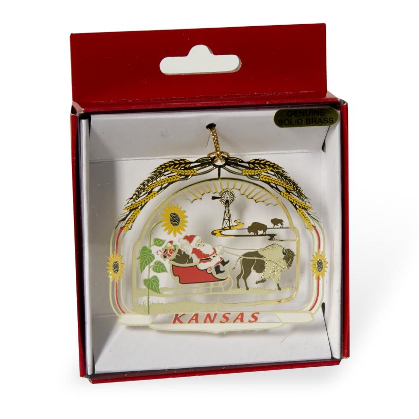 Santa w/ Bison Ornament,JSC0012-B