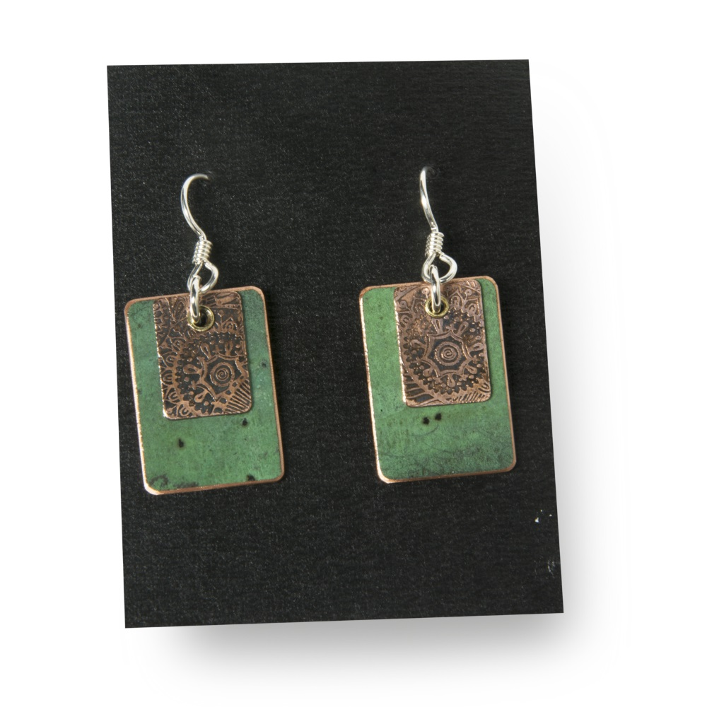 Copper Earrings with Acid Etching