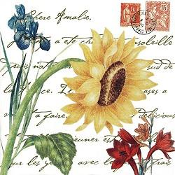 Giant Sunflower w/ Stamps Flour Sack Towel