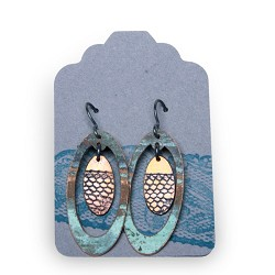 Copper Elipse Lace Frame Earrings - Large - Capitol Copper