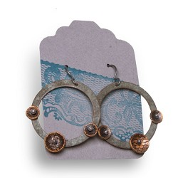 Large Circle Triple Bell Earrings - Capitol Copper