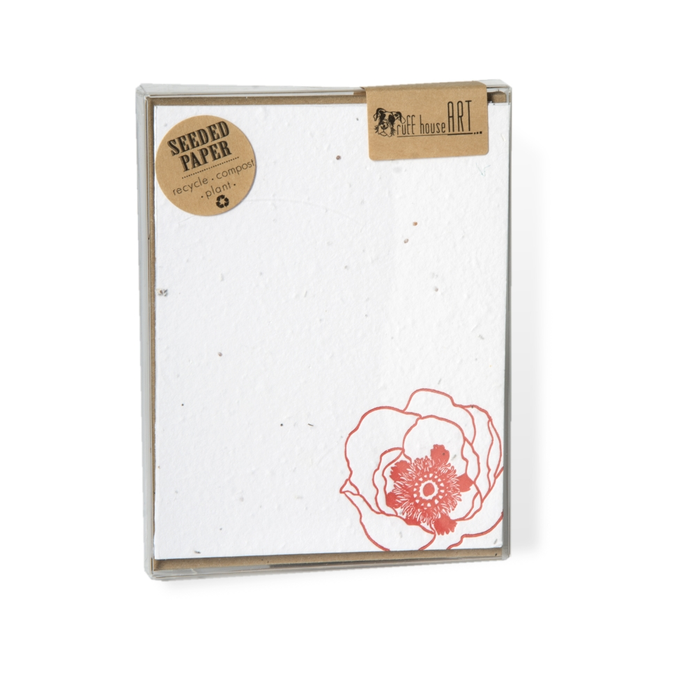 Set of 6 - Seeded Letterpress Note Card - Vintage Poppy