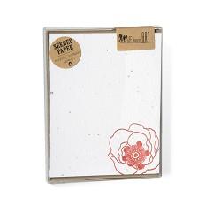 Set of 6 - Seeded Letterpress Note Card - Vintage Poppy