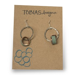 #36 Stamped Silver Hoops with Single Copper Ring