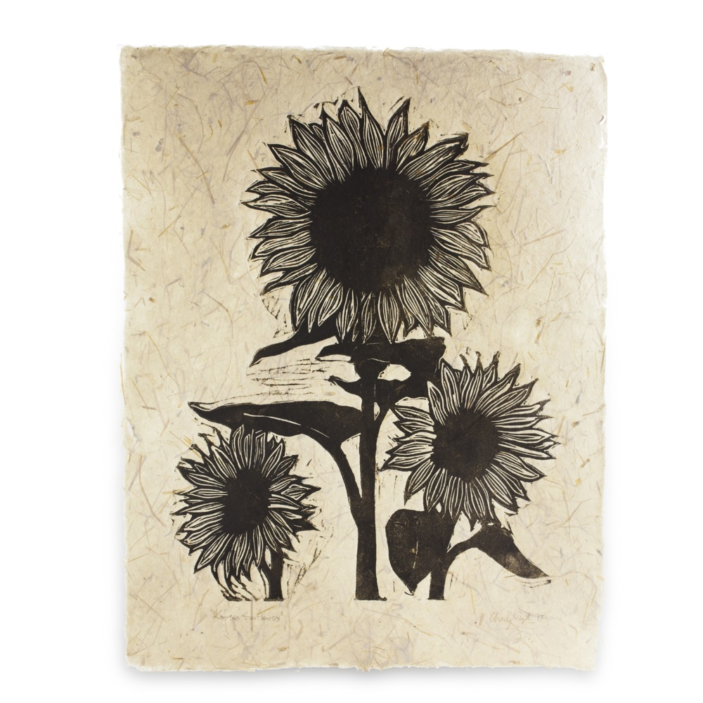 Three Sunflowers (Handmade Paper)