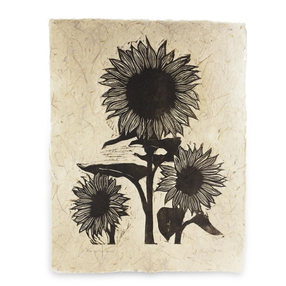 Three Sunflowers (Handmade Paper)