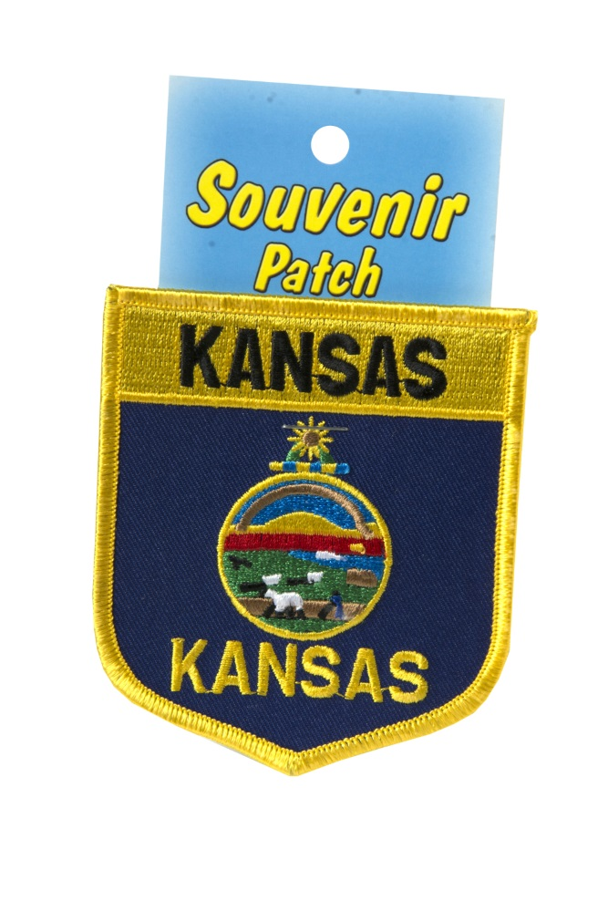 "KS 3"" State Flag Shield Embroidered Patch, Carded,1033/50-KS"