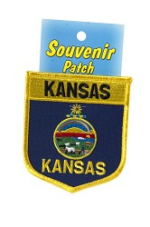 """KS 3"""" State Flag Shield Embroidered Patch, Carded"""