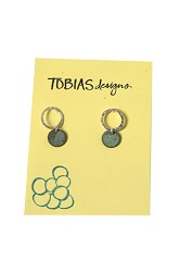 #40 Stud Earrings - Silver Stamped Circles with Small Copper