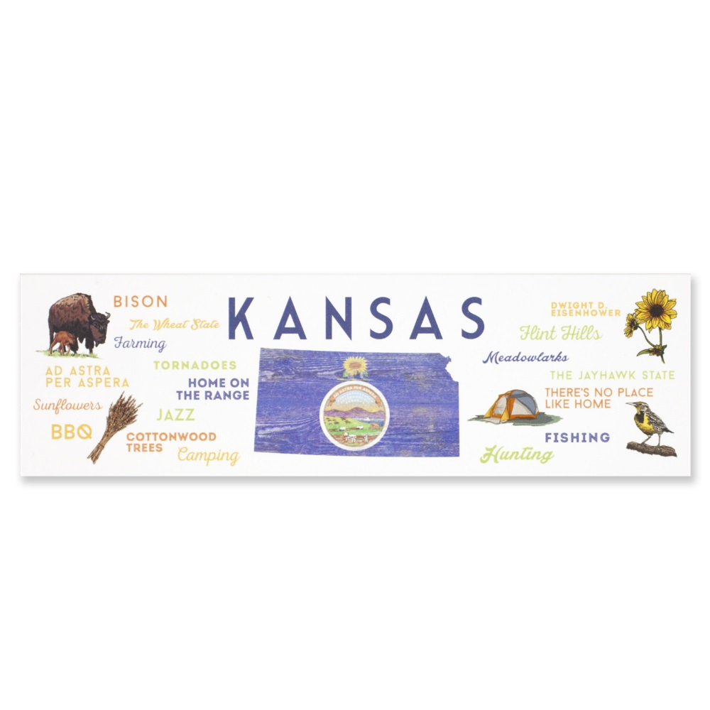 Kansas Typography & Icons Bookmark,79058