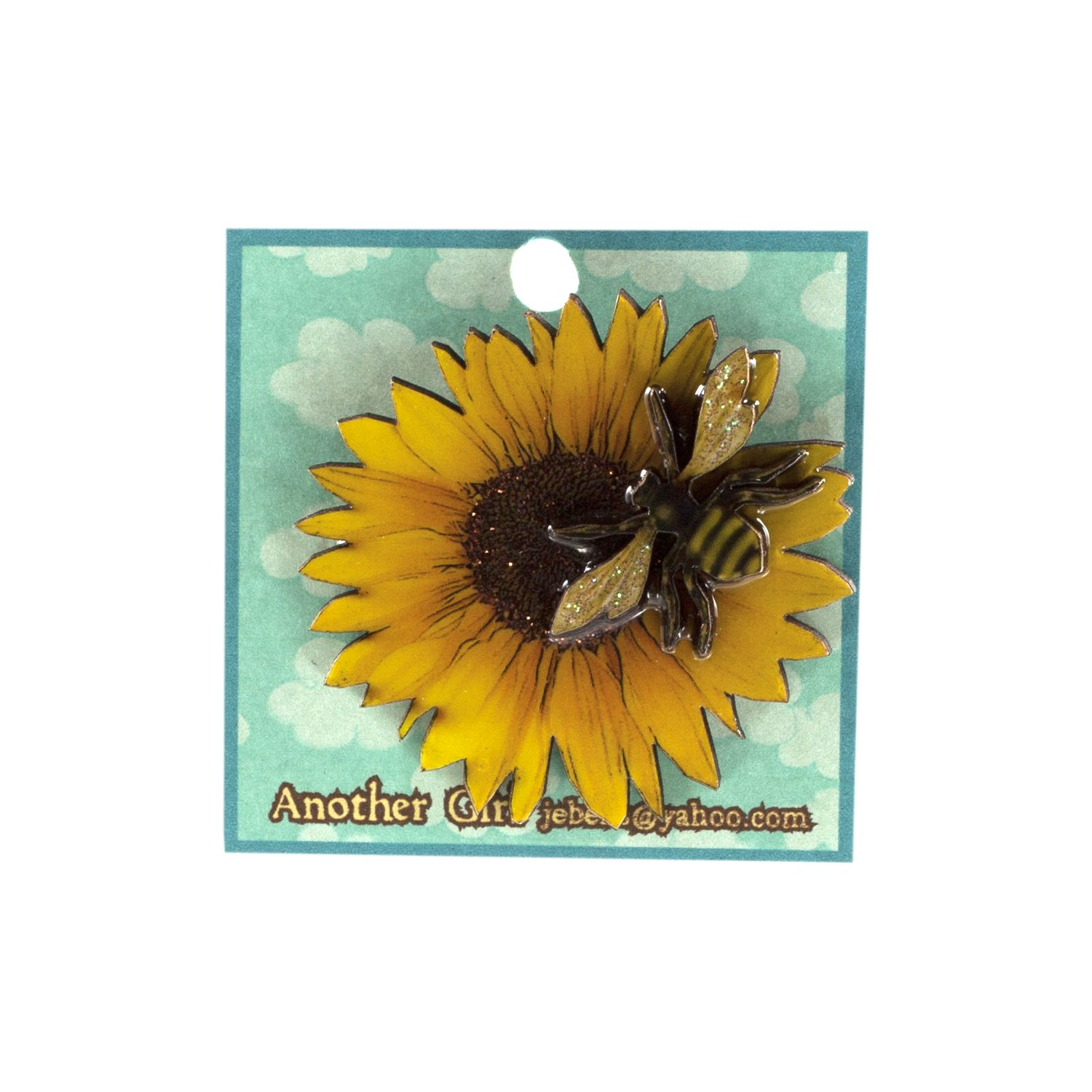 Sunflower and Bee Pin