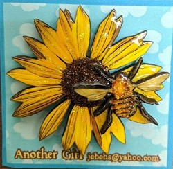 Sunflower and Bee w/ Glitter Pin
