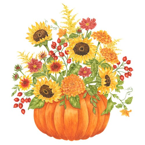 Pumpkin Bouquet Flour Sack Towel,U34-452