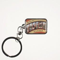Greetings Metal Keychain Silver