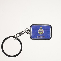 State Flag Metal Keychain Silver